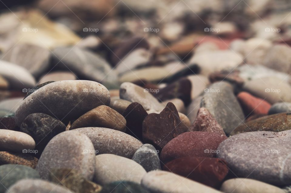 A rocky shore. Just a bunch of rocks on a rocky beach at the seashore. Close up and detail.