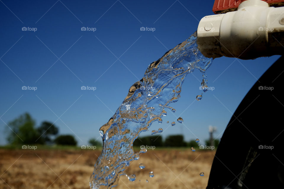 Clear sparkling water gushes from a PVC irrigation pipe while preparing for spring planting.