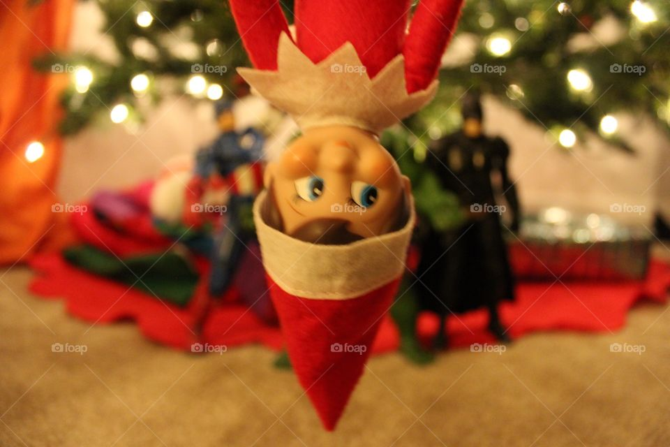 Elf on the shelf. Elf having some fun with the avengers