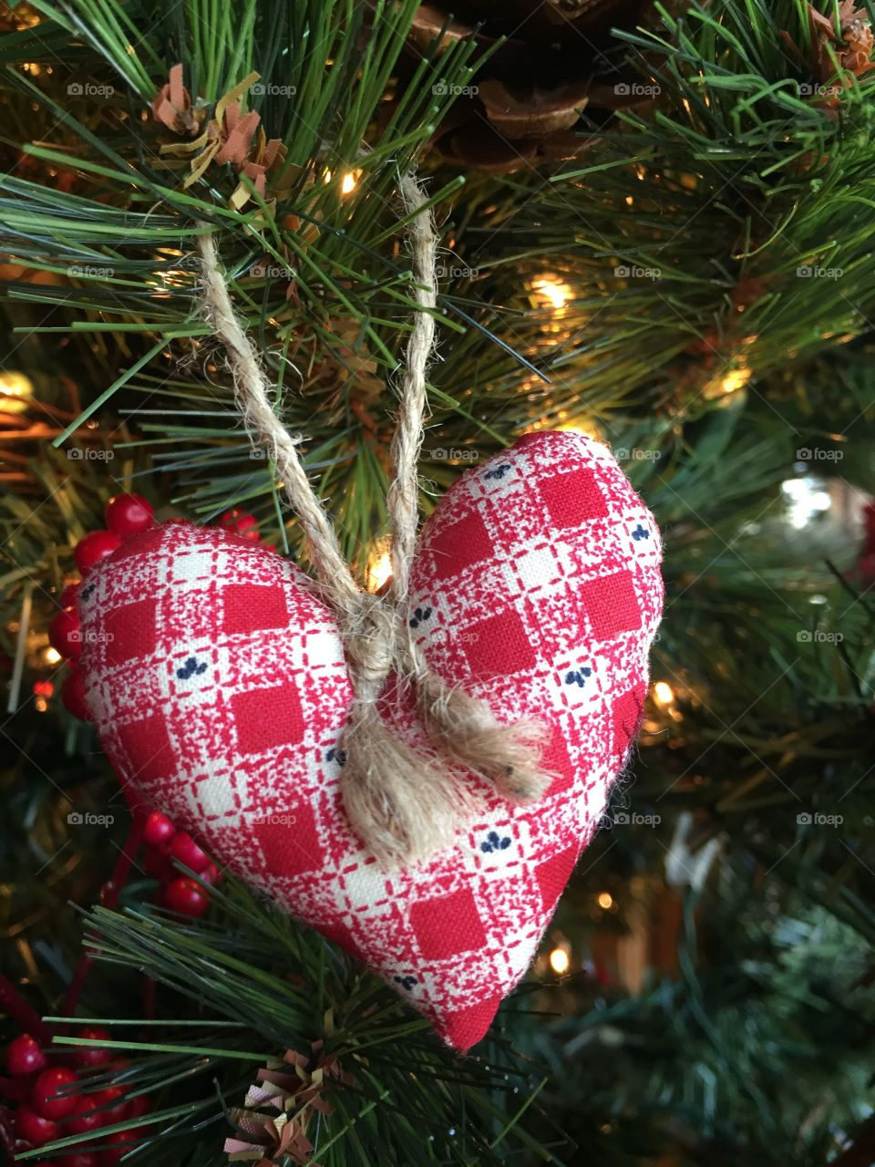 🎄 Red Heart on Christmas Tree. 🎄🎄 Merry Christmas to all.🎄🎄
