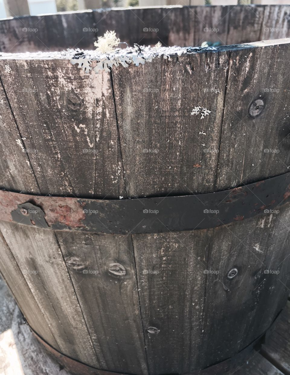 Weathered antique whiskey barrel. Rustic.