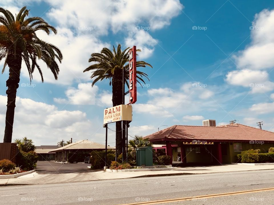 Palm Motel in the city of Anaheim, California. Spring 2019