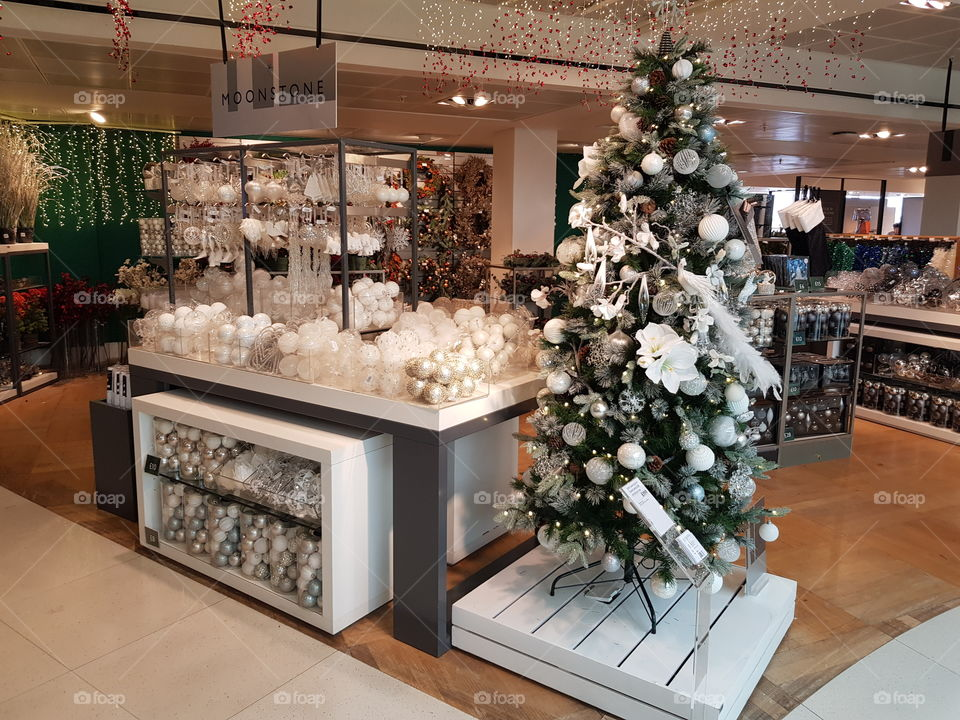 White Christmas tree and baubles decorations at Peter Jones Sloane square Chelsea King's road London