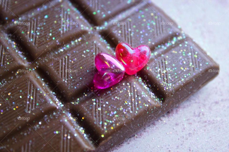 glitter chocolate hearts love