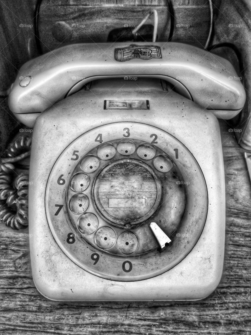 Close-up of a old vintage telephone