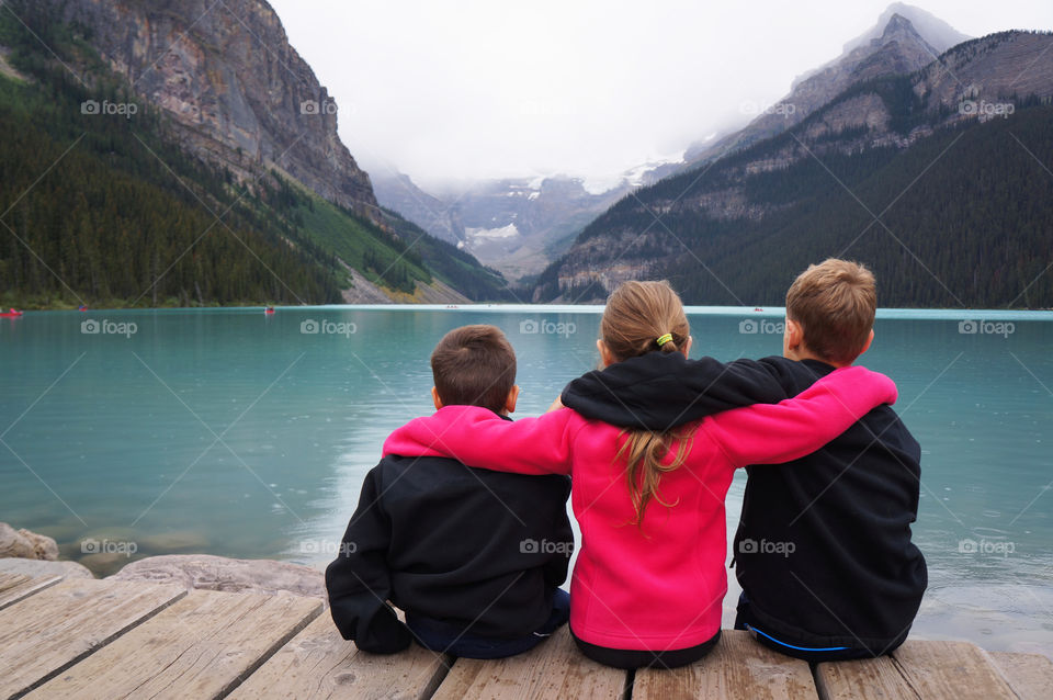 Enjoying the view of Lake Louise with Family