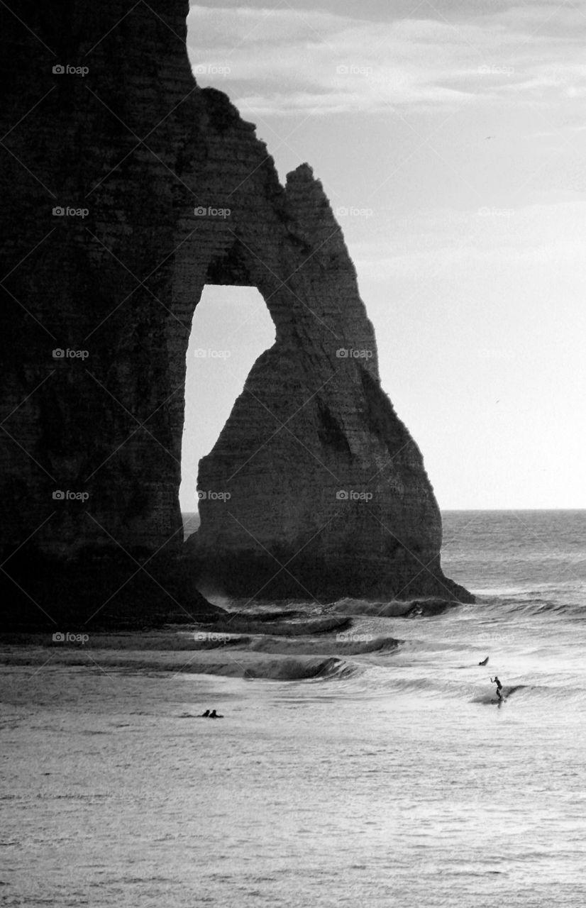 Etretat  arch needle surfers