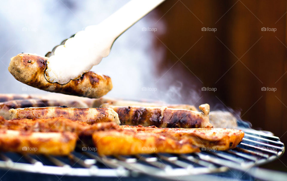 Sausage on barbecue