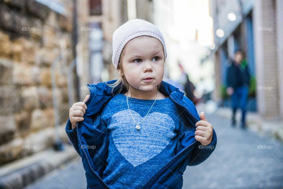 Baby wearing heart shape t-shirt