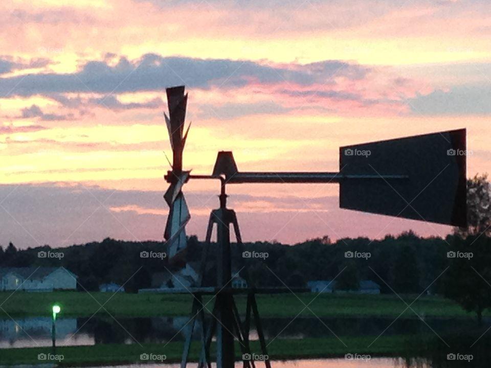 Sunset. Wind Mill