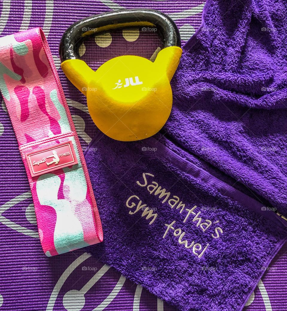 Gym necessities! Kettle bell, glute band, gym towel and yoga mat!