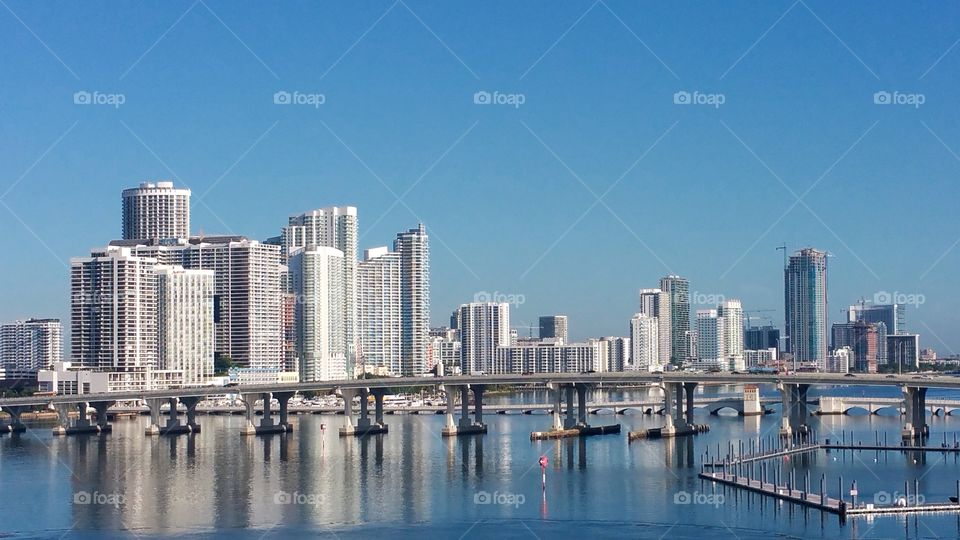View of city of Miami early morning..disembarkation day from Royal Caribbean enchantment of the seas