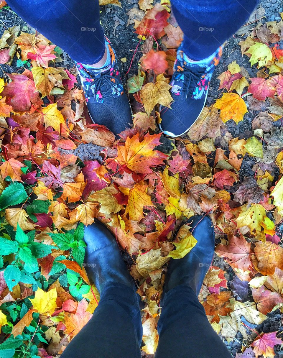 Human foot on the autumn leaves