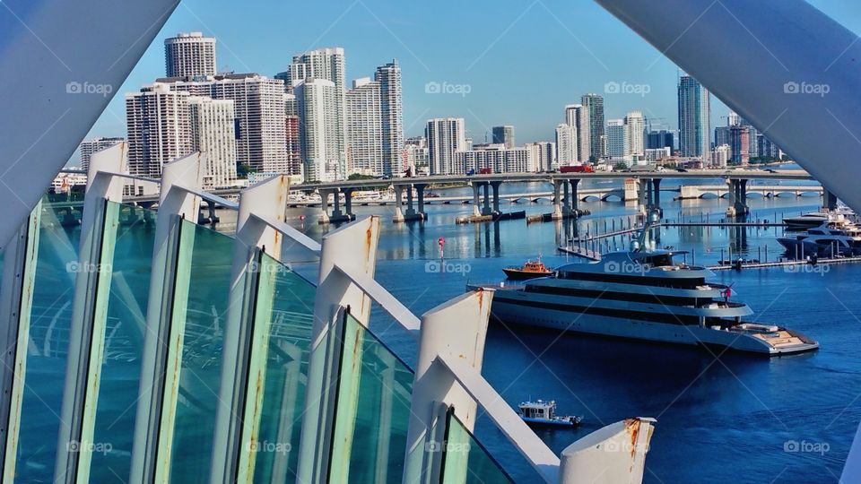 Yacht coming into Port of Miami..one of my last pictures here on Royal Caribbean cruise ship.. ready to disembark..I love putting a twist on things