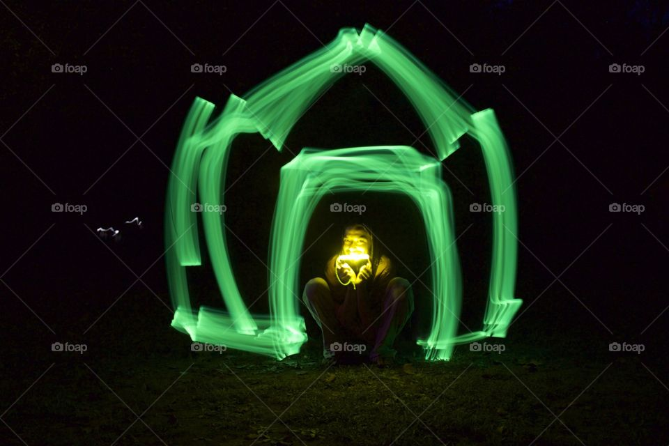We used the long exposure feature to make a house.