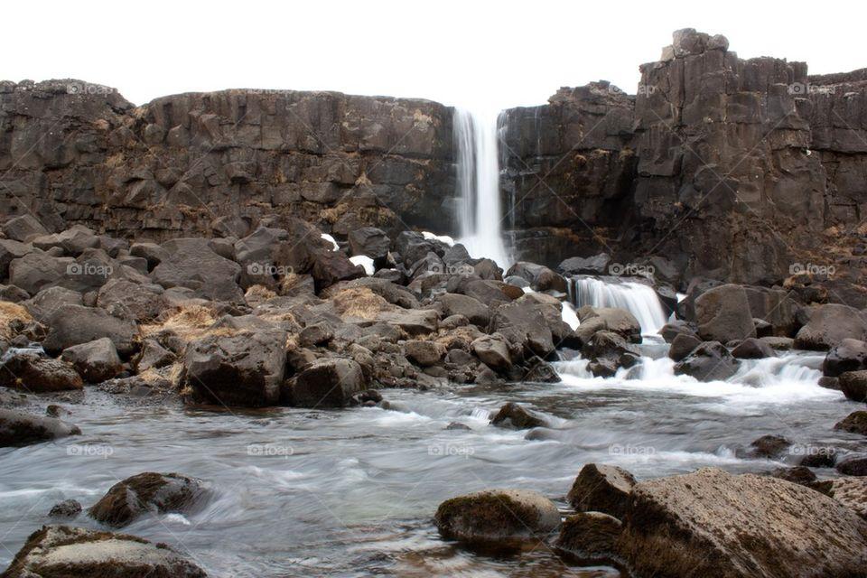 Oxarafoss waterfalls, Thingvellir National Park, Iceland