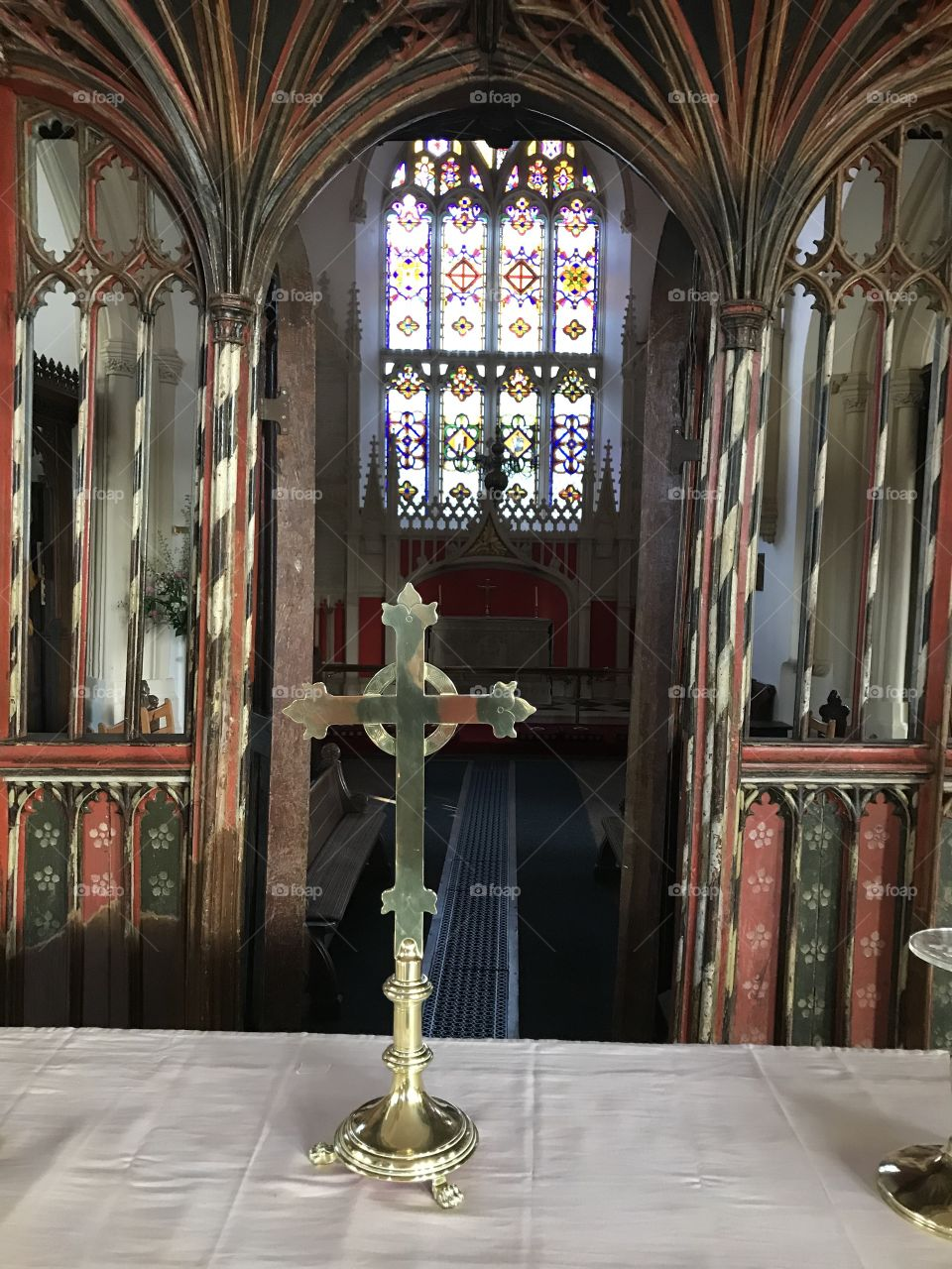 Internal photograph of the alter and beyond of St Mary's In Uffculme.