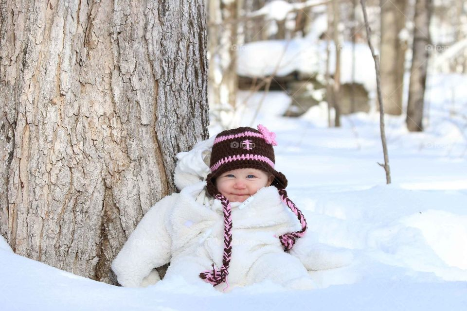 Smiling baby in winter