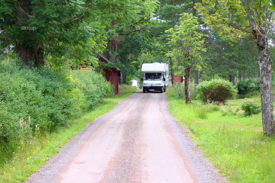 A autocamper on the road in Dalsland