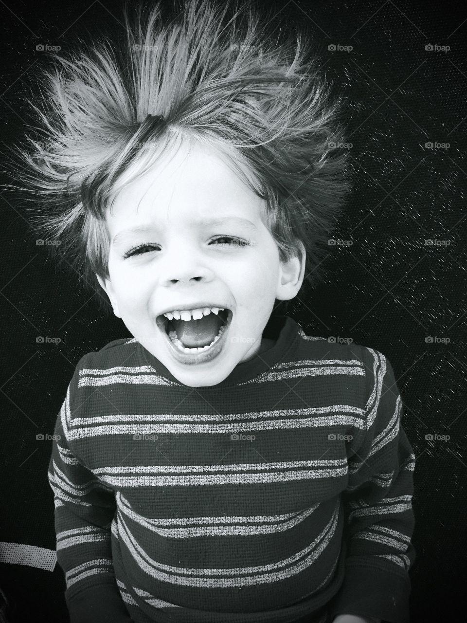 Portrait of boy screaming