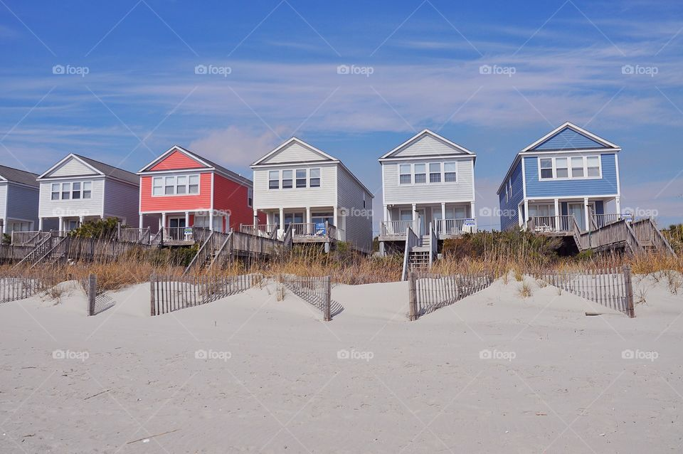 A row of colorful beach homes