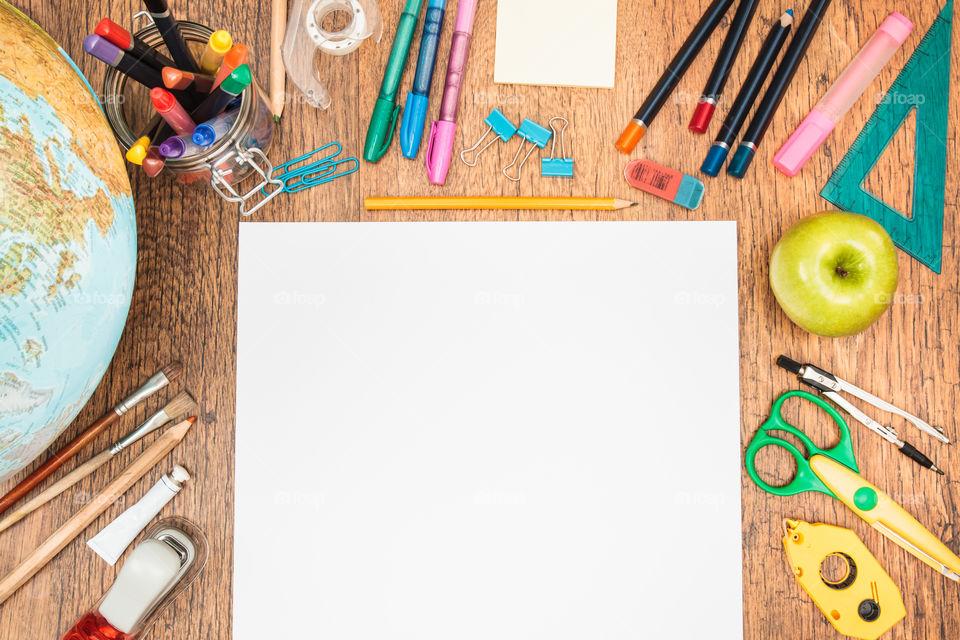 School accessories on desktop