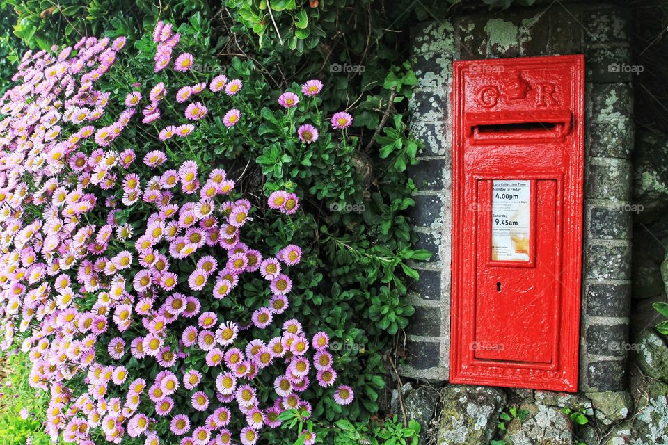 A bright red British Royal Mail post box on a wall next to a host of pretty flowers.