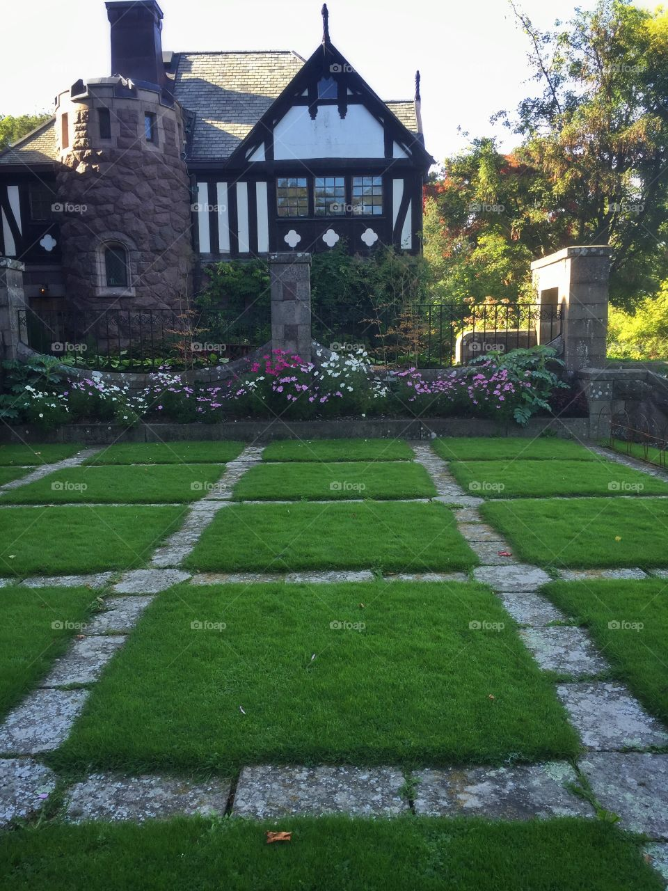 Beautiful lawn at the castle