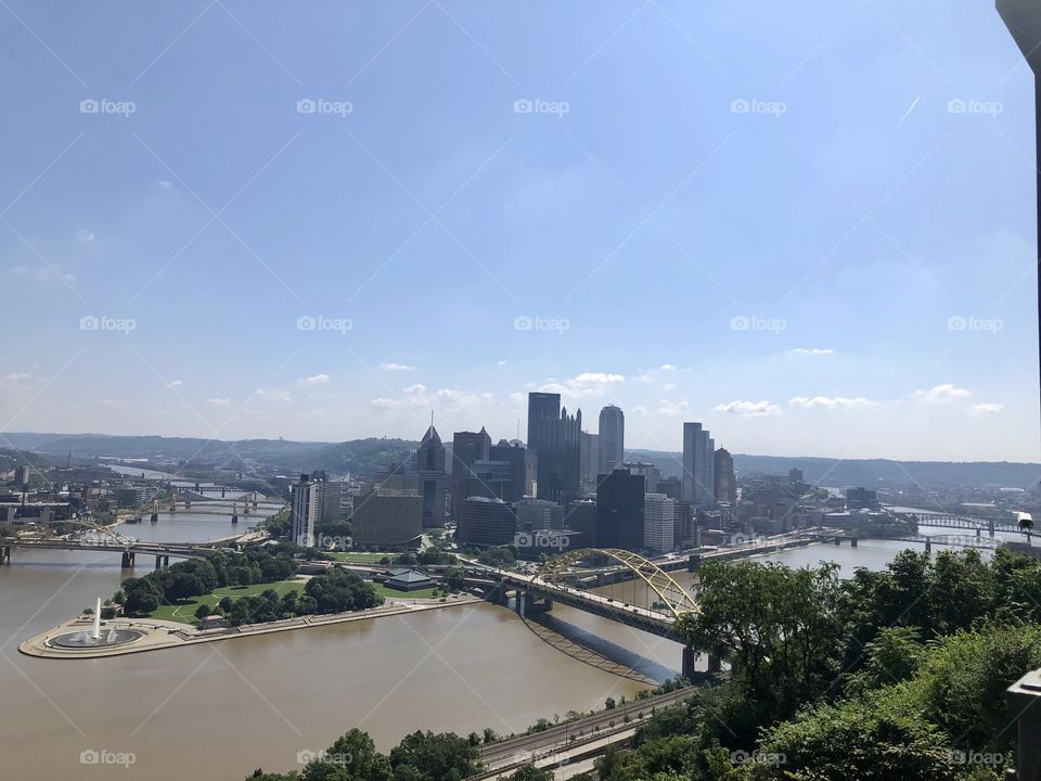 Downtown Pittsburgh Pennsylvania view from the incline.