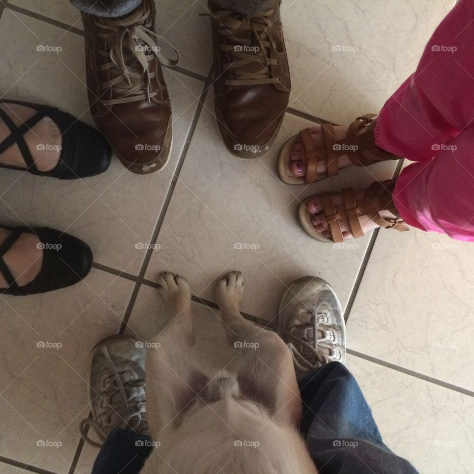 Low section of people standing on tile floor