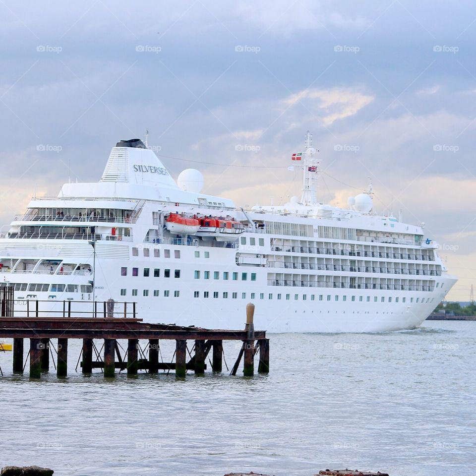 Silver sea cruise ship. A snap I grabbed of the silver sea cruise ship on the route out of London