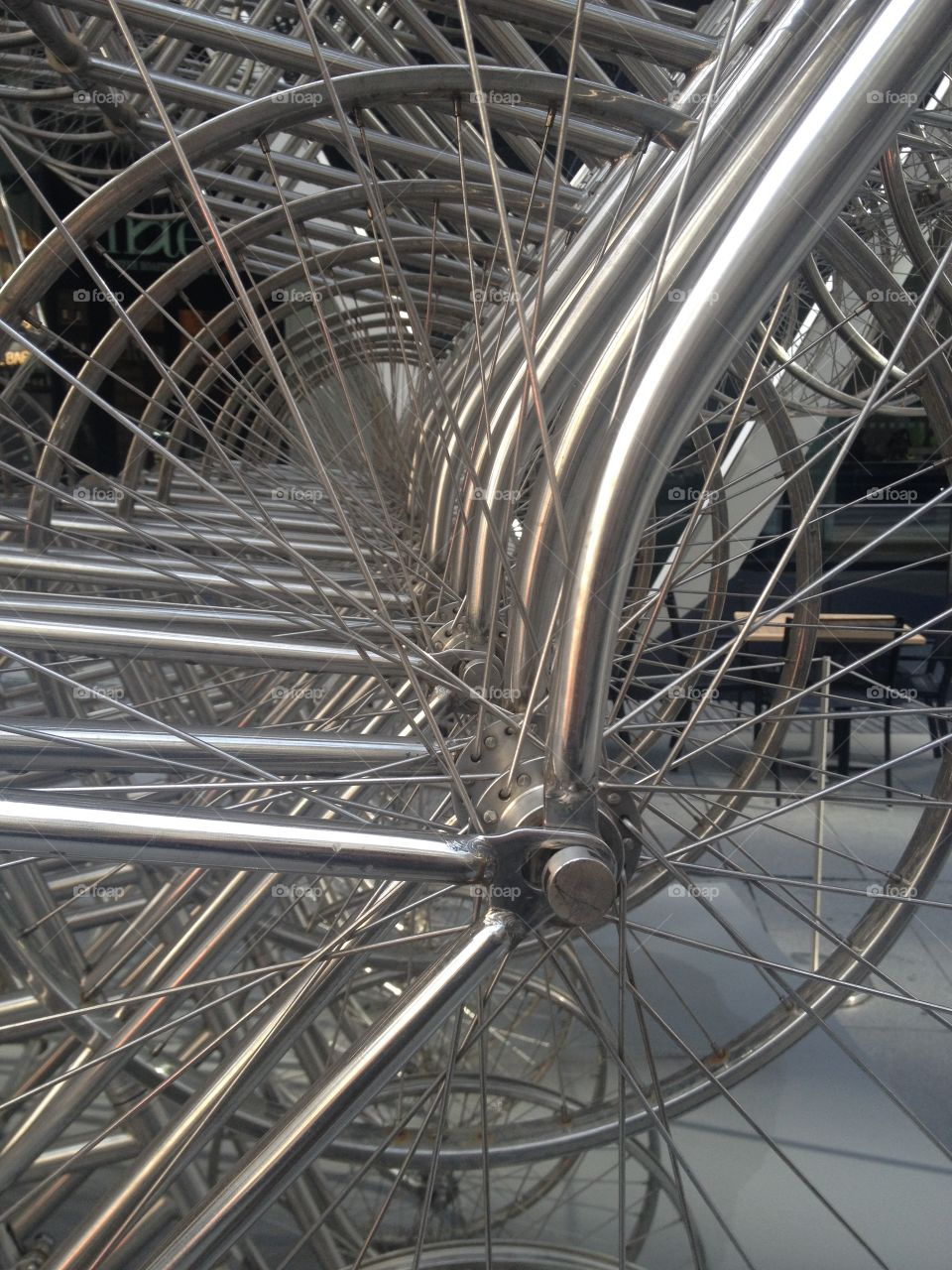 Close-up of metal wheel