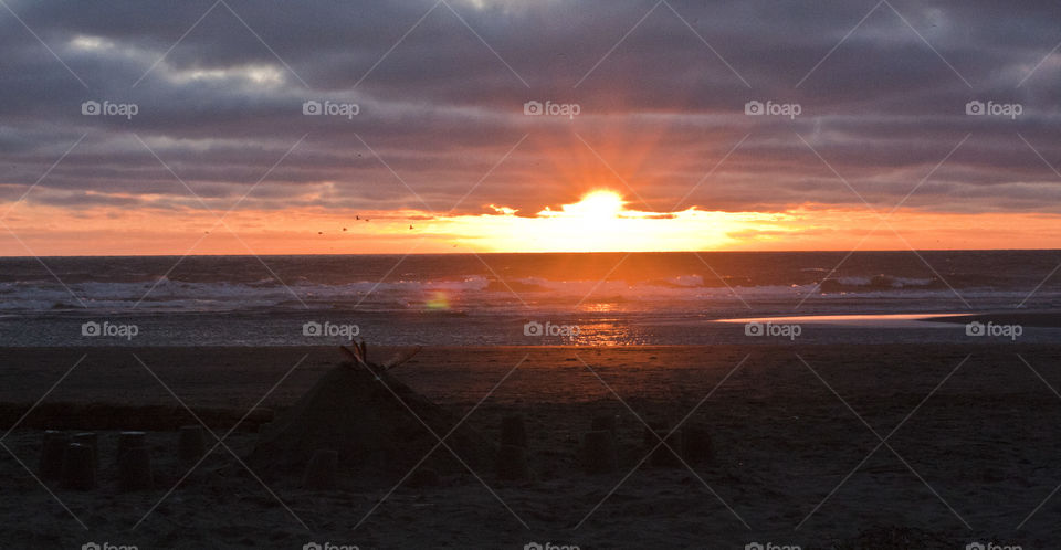 Birds flying through a sunset on City Beach in Ocean Shores.