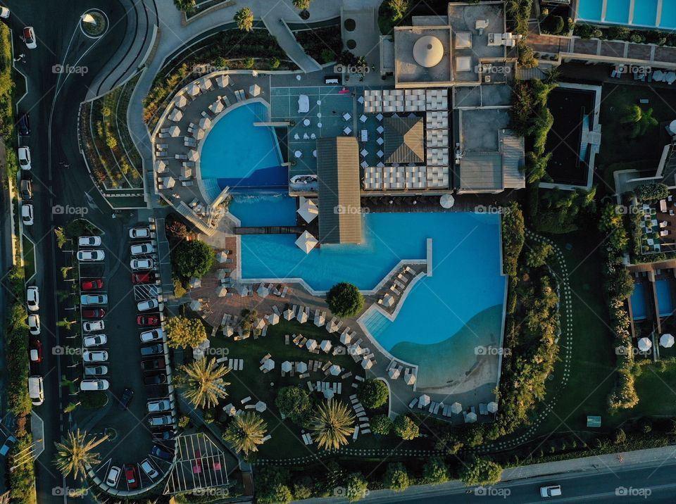 Aerial view of hotel area and swimming pool