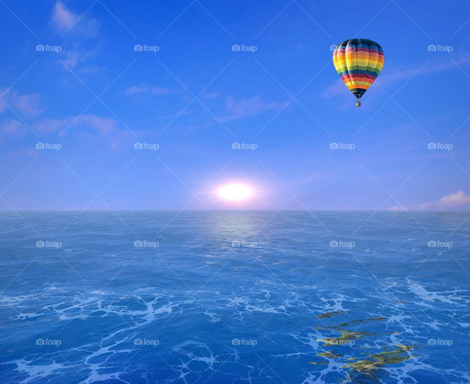 Hot Air Balloon Over Water