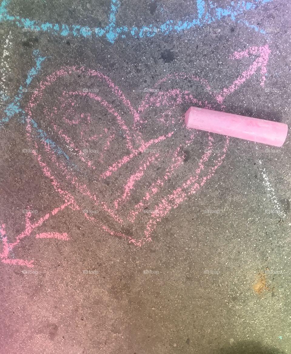 Sidewalk Art (Chalk Heart)