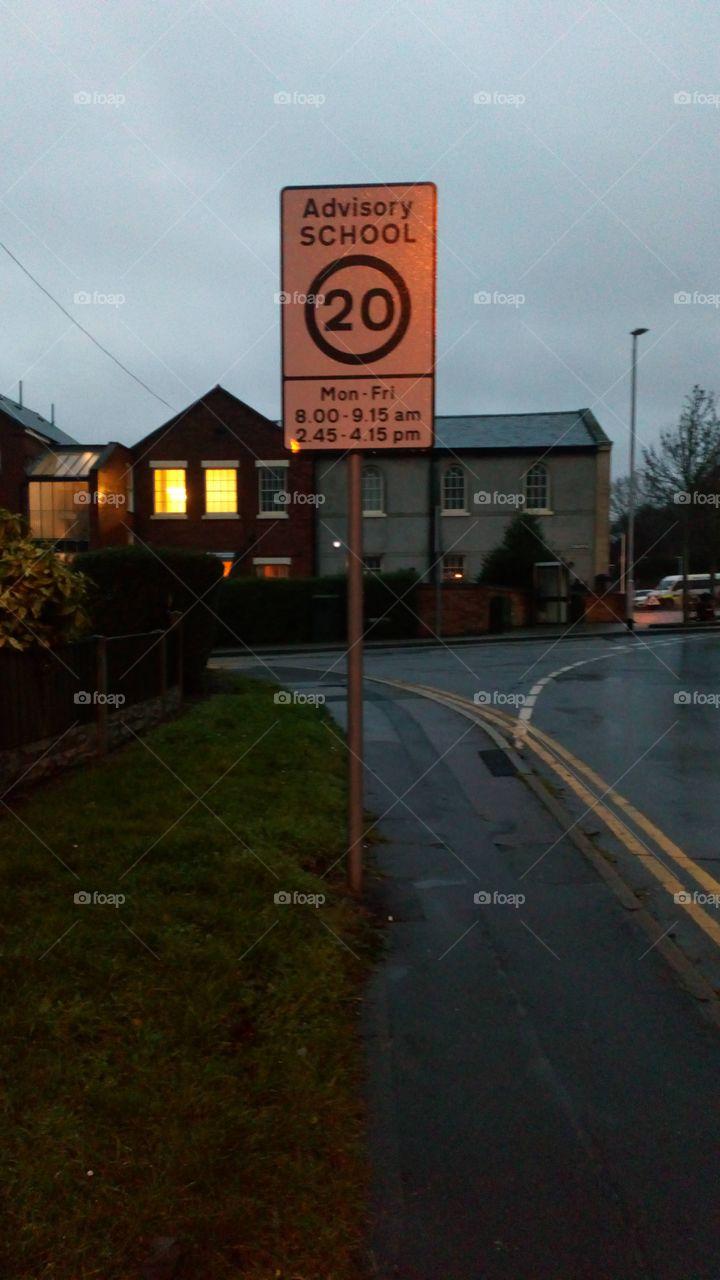 20 mph school zone sign
