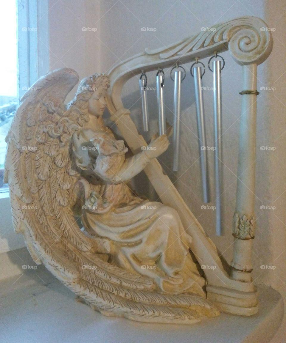 Decorative Angel Playing Harp
