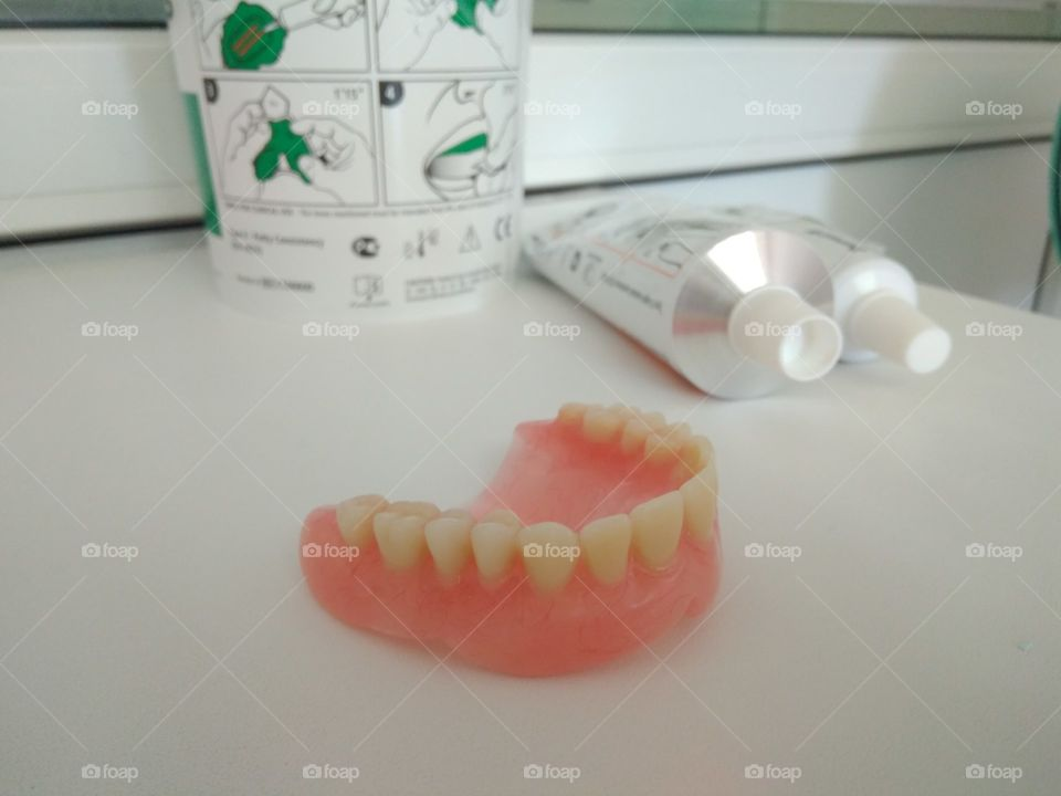 Dentures on table