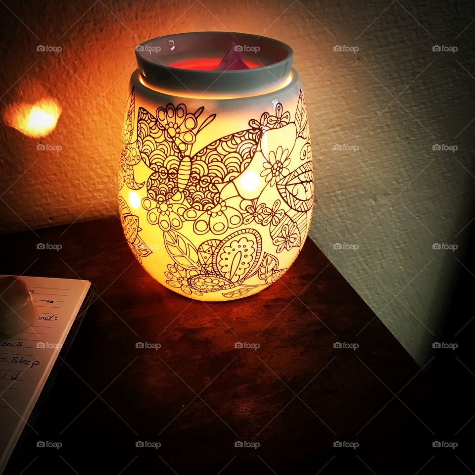 My new butterfly Scentsy wax cube warmer lit up at night