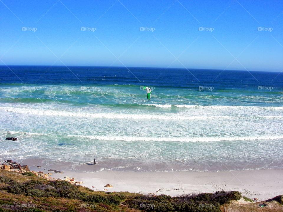 wind surfer in the windy beach