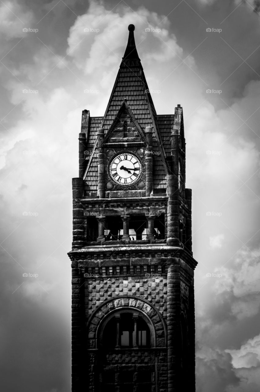 black and white chapel. Bay City, MI-June 8, 2015: Bt putting the black and white filter on this antique chapel not only gives it an erie look but emphasizes the age of it.