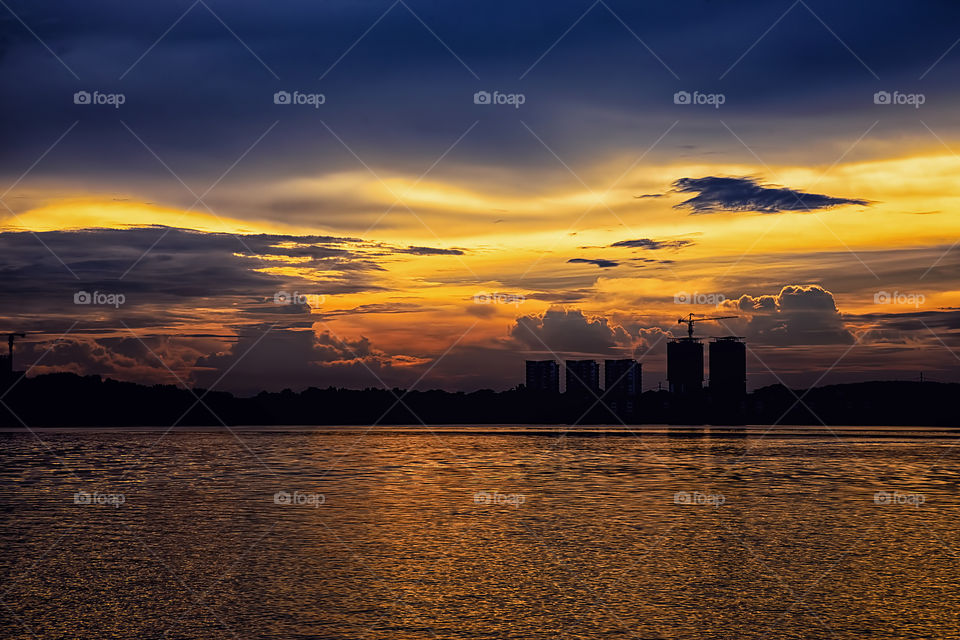 Scenic view of a lake during sunset