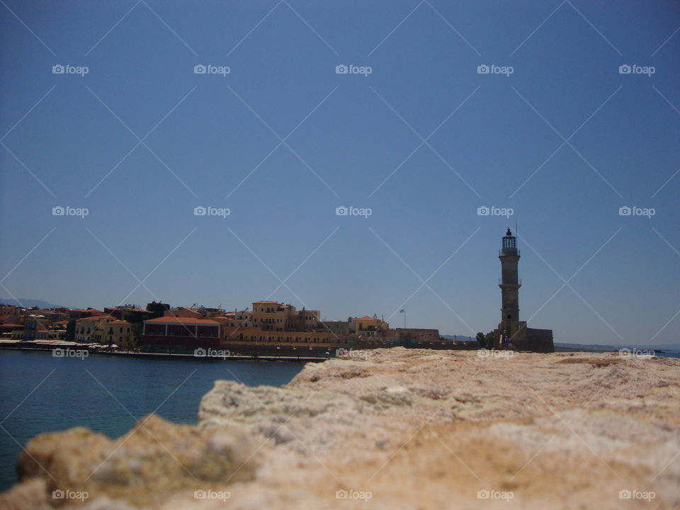 The lighthouse. old port, chania, crete, greece
