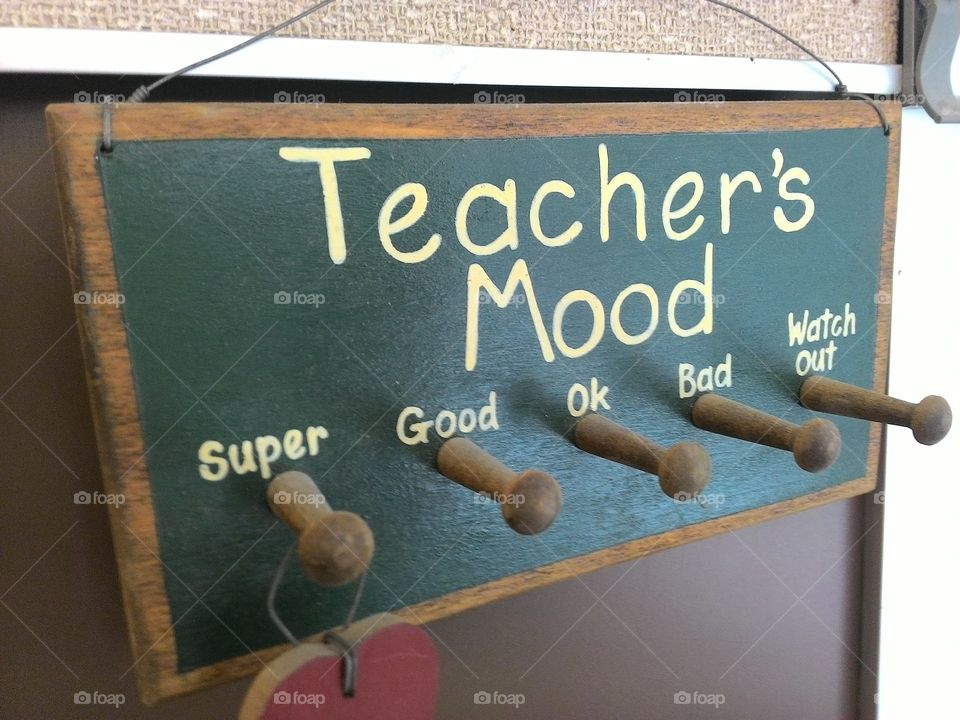 Teachers mood. a pug board for the kids to know when to watch out