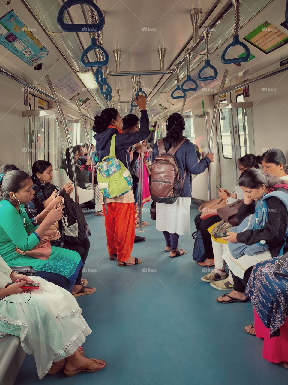 ladies traveling in Metro