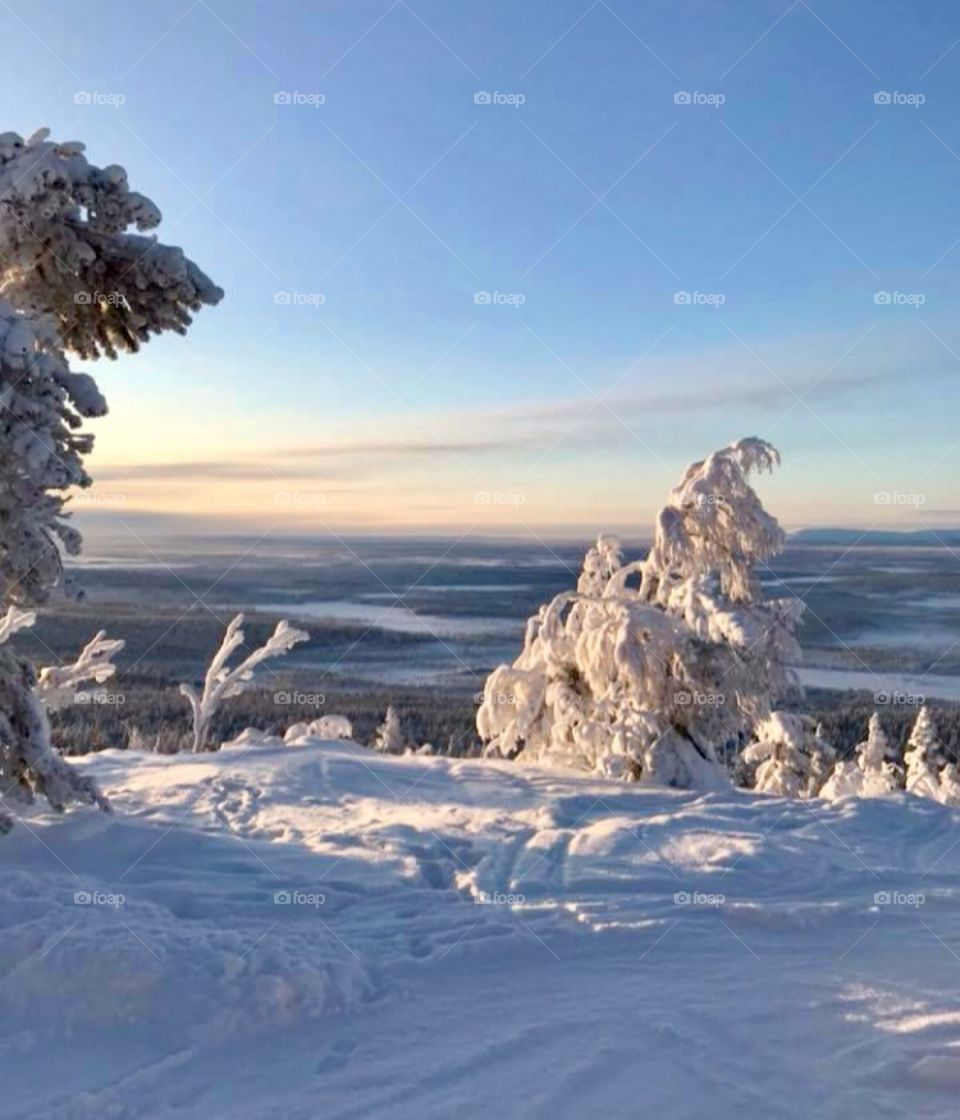 View from mountain in köngäs lappi Finland