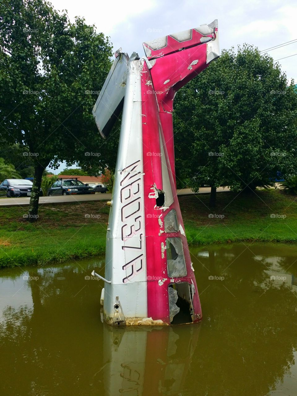 Just a Wrecked Plane. Small plane used as an attention-getter in front of a business.