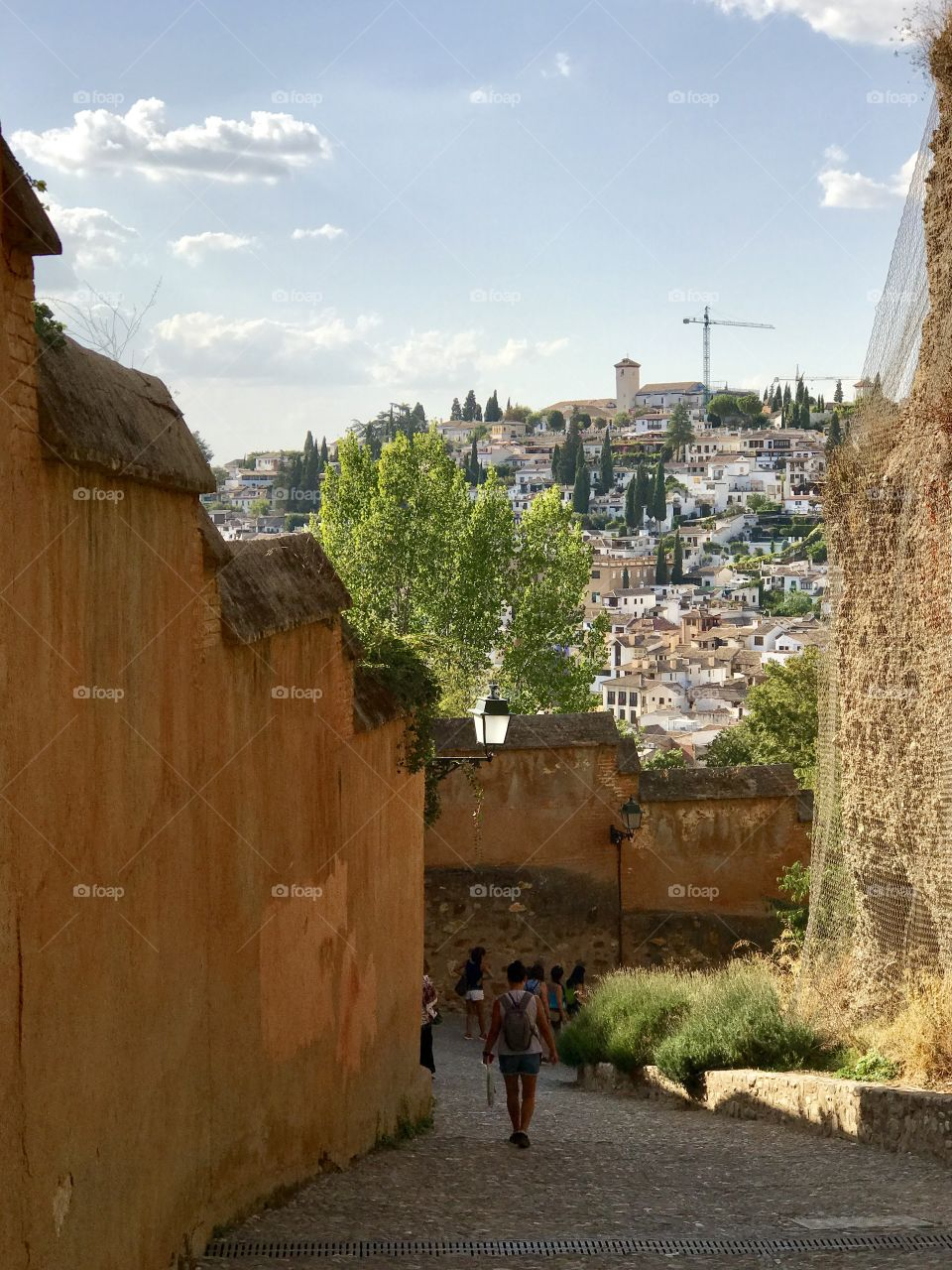 On the path down the hill, from the Palace at Alhambra, overlooks the old town of Granada, the stuff fairytales are made of, still lives here! 🧚🏼♀️